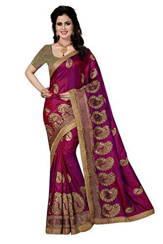 Rani Saahiba Embroidered Art Silk Saree with Brocade Blouse(SKR2758_Magenta)