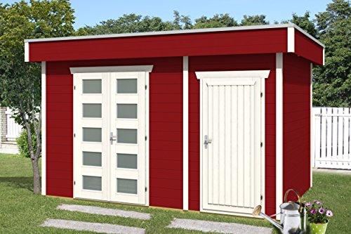 SKAN HOLZ Flachdachhaus, Venlo 3, 28 mm, Gartenhäuser, schwedenrot, 250 x 380 x 255 cm