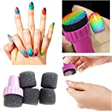 Moonar® 4PCS/Set Nail Art Polish Sponge Brush Stamping Polish Template Transfer Manicure