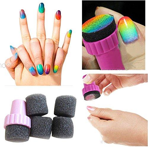 Moonar® Lot de 4 tampons éponges à dégradé pour décoration des ongles