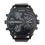 Dual tiempo Reloj de pulsera - OULM Hombres lujo militar ejercito dual tiempo cuarzo dial grande reloj de pulsera negro