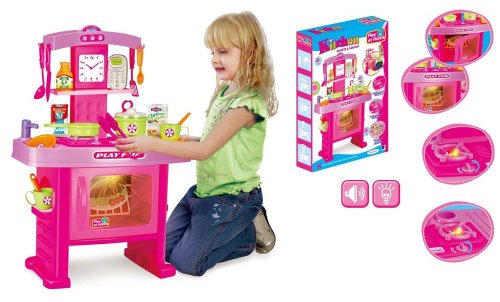 Vinsani Light & Sound Childrens Girls Pink Electronic Kitchen Oven Microwave Cooking Toy