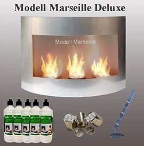 Cheminée Bio-Ethanol / Modèle Marseille-Deluxe / Couleur Argent / Import Allemagne