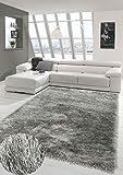 Merinos Wertvoller Shaggy Teppich Hochflor mit Glitzer in Grau Größe 120 cm Rund