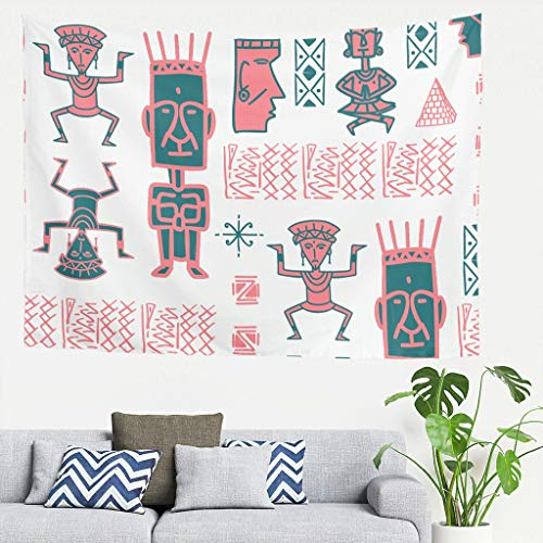 kikomia Ägypten Indien Maya Weiß Tapisserie Wandbehang Wandteppich Decke Wandkunst Abstrakt Indisches Hippie Design Böhmisch Psychedelisch Magie Dekor Zimmer Leben Schlafzimmer White 79 * 59