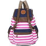 Promithi Unisex Travel Stripe Backpack Canvas Leisure Bags Schooolbag Rucksack (pink)