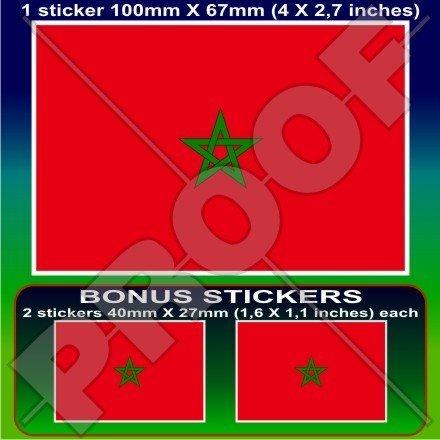 MAROKKO Marokkanische Flagge Westafrika, Marokko Afrikanisch 100mm Auto & Motorrad Aufkleber, Vinyl Sticker x1+2 BONUS (Afrikanische Flagge)