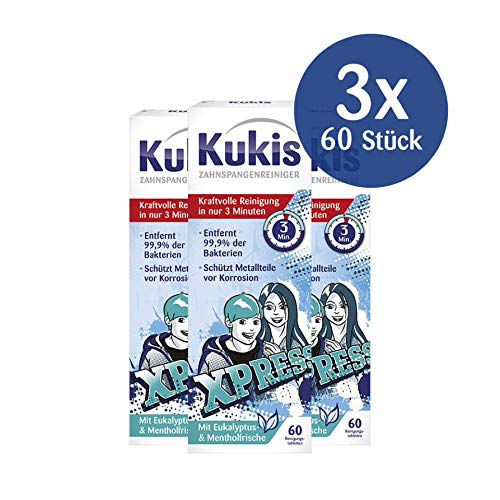 Kukis Zahnspangenreiniger, 60 Reinigungstabletten, 3er Pack (3 x 60 Stück)