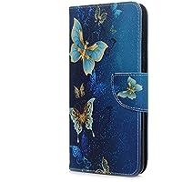 Tophung Huawei Honor 7C - Funda para Huawei Honor 7C (piel sintética, carcasa interior de TPU con ranuras para tarjetas, cierre magnético), color negro, Blue Butterfly