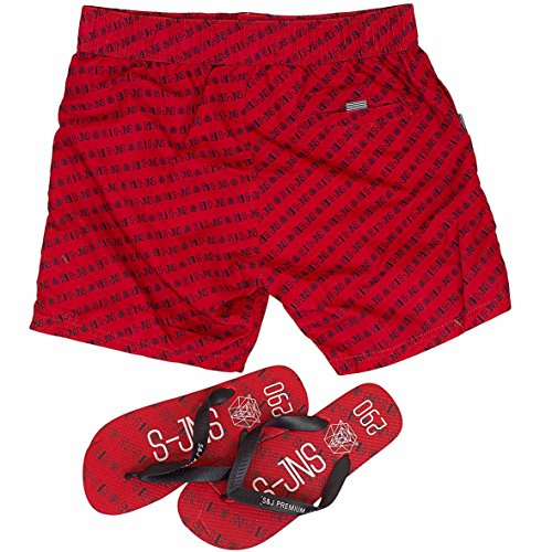 Smith & Jones Baryon Boardshort Swimshorts & Flip Flops Bundle Set Red