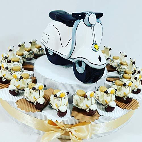 Sindy Bomboniere Torta BOMBONIERA Vespa Decorata Bimbo per 1 Compleanno Battesimo Nascita (Torta 20 fette a)