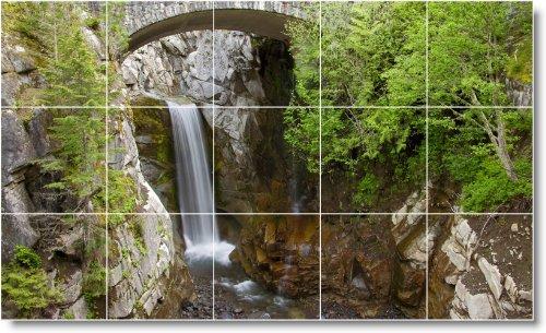 CASCADAS FOTO TILE MURAL W015  36X 60CM CON (15) 12X 12AZULEJOS DE CERAMICA