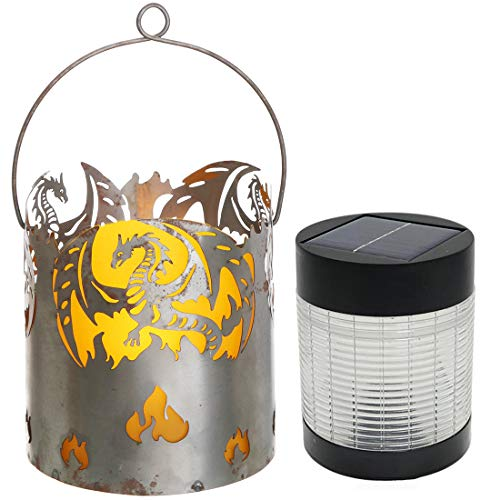 Novaliv Gartenlaterne Drache mit Solarlampe LED Laterne Rost Metall Feuerschale Feuerkorb Windlicht