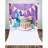 Coloc Photo® 150*220cm Violet d'anniversaire photographie fond imprimé avec cadeaux de et gâteaux sucrés et bannières d'anniversaire d'anniversaire gâteau toile de fond D-9321