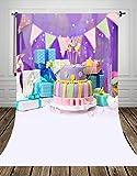 coloc fotografica 150* 300cm Viola di Anniversario fotografia fondale Tela stampata con regali e torte zucchero e striscioni di compleanno di compleanno Torta di fondo d-9321