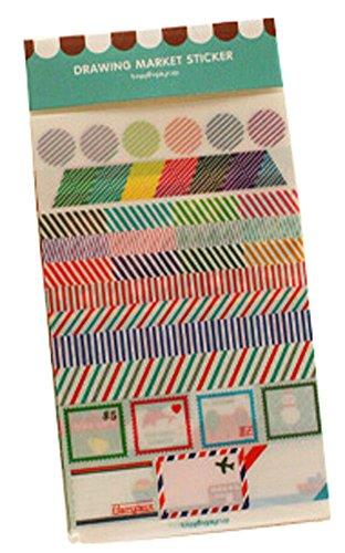 5 Sheets Diy Tagebuch-Aufkleber Handy-Dekoration-Aufkleber Blau