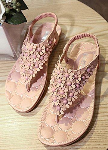 Di Clip Sandali Donna Aisun Eleganti Fiori Rosa YxB1wXqa