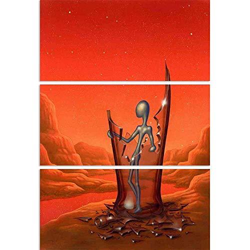 ArtzFolio Surreal Alien Figure In A Broken Glass Bottle Split Art Painting Panel On Sunboard 28 X 40Inch