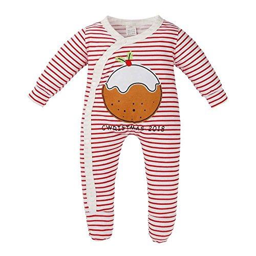 Domybest Neugeborenes Baby warme rote weiße Streifen schiefe Tasten Strampler Jumpsuit (100cm) (Schiefe Streifen)
