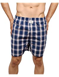 Neska Moda Men's Premium Elasticated Cotton Blue And White Boxer With 1 Back Pocket-MFN-XB41