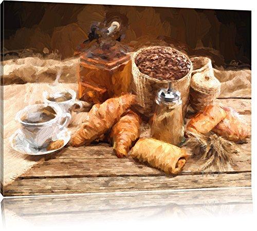Pixxprint Aromatischer Kaffee mit Croissant Pinsel Effekt, Format: 120x80 auf Leinwand -