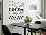 I-love-Wandtattoo 12035 Wandtattoo Küchen Spruch ''A good day starts with coffee and ends with wine