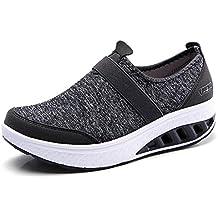 2f850a8a4c910 lovejin Mujer Adelgazar Zapatos Sneakers Deporte Cuña Zapatos Plataforma  Sneakers Caminar Fitness Transpirable