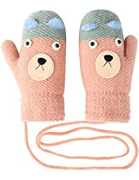 8ac80e08e Vbiger Kids Winter Gloves Cartoon Thickened Knitted Mittens with Anti-lost  String,Aged 4