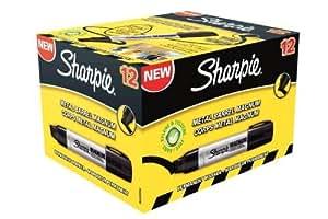 Sharpie Pro Marqueur Pointe Extra Large Biseautée Noir Lot de 12