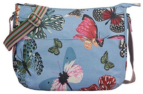 Kukubird Various Blumen Polkadots Muster und Rainbow Strap Sling Crossbody Messenger Schule Tasche L Butterfly Light Blue