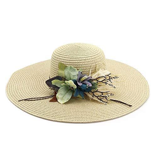 HUOYUJIE Strandurlaubsreisesonnenhut des Küstensonnenschutzstrohhutgartenblumenstrandhut-Sonnenschutzes weiblicher (Farbe : E, größe : One Size)