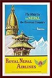 Herbé TM Royal Nepal Airlines R178- Poster/Reproduction 60x90cm d1 Affiche Vintage/Ancienne/Rétro (BR*)...