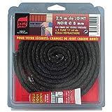 Junta negra para puerta de chimenea,estufas.etc.. en fibra de vidrio trenzada 2,5m-10 mm.