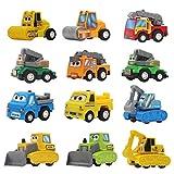 Mini Pull Back Vehículos Friction Powered Assorted Construction Engineering Vehículos Toy Dump Truck Excavator Bulldozer Ladder Truck Rodillo de camino Sling Van para niños Toddlers Boys (Color Random)