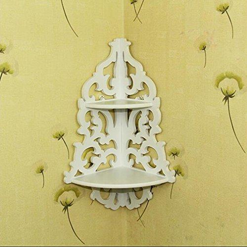 Weiße hölzerne an der Wand befestigte Mode-und Hacken-Verkaufs-Weinlese-Dekor-Blumenweiße hölzerne Wand-Eckregal-Speicher-Regal-Eckzahnstange, weiß -