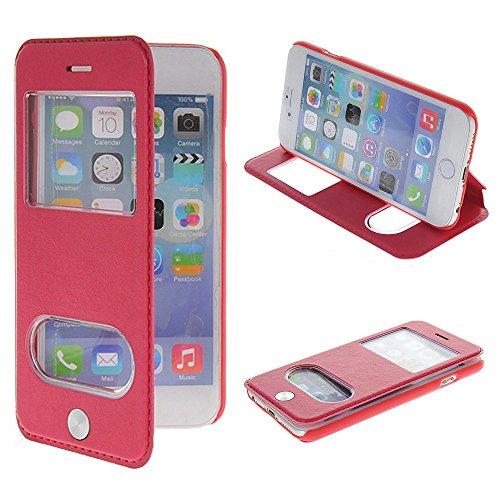 UKDANDANWEI Apple iPhone 6 [CJ] Case - Magnetisch Leder Tasche Flip Case Cover Schutzhülle Etui Hülle Schale mit Fenster Ansicht Für Apple iPhone 6 - Rot G1-Rot