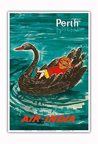 Pacifica Island Art - Perth, Australien - Air India Maskottchen Maharaja - Schwarzer Schwan - Retro Flugreise Plakat von J.B. Cowasji c.1960s - Kunstdruck 33 x 48 cm