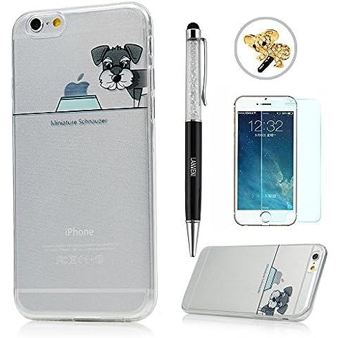 iPhone 6/6S Funda - Lanveni® Chic Carcasa Suave TPU Gel Silicona ultra Slim para iPhone 6/6S 4.7 pulgadas Transparente Case - Patrón perro Diseño 4 + lápiz capacitivo + Enchufe anti del polvo + Protector de