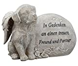 Grabdeko Hund mit Engelsflügeln Spruch Grabstein 17 cm Grau