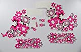Fahrrad DEKOR Satz Aufkleber Rahmen Frame Decal Sticker Blumen Flower Pink Weiß