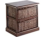 Bow Fronted Wicker 2 Drawer Cabinet Unit Home Living Room Storage Furniture