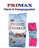 10 kg Primax Waschpulver Waschmittel Vollwaschmittel mit bunten Speckels + 1 Microfasertuch