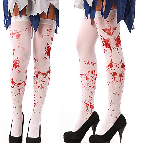 Erwachsene Gruselige weiß Halt bis Blut gebeizt Damen Strümpfe Halloween-Kostüm Cosplay Horror Socken (Paar Die Kostüme Besten Freunde Halloween)