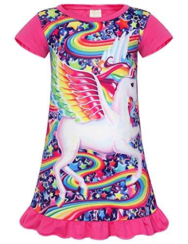 Jurebecia Unicornio Pijama Vestidos camisón con Manga Corta en Vestido para niñas 5-6 años