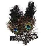 Homyl Damen 1920s Stirnband mit Feder 20er Jahre Stil Haarband Damen Kostüm Zubehör - Pfauen