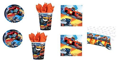 CDC - Kit n° 9 Goûter d'anniversaire Blaze et les Monster Machines - (32 assiettes, 32 gobelets, 40 serviettes, 1 nappe)