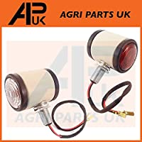 APUK 2 x White Butler Side Maker Light Lamp Compatible with Fordson Dexta Nuffield 10/42 10/60 Tractor