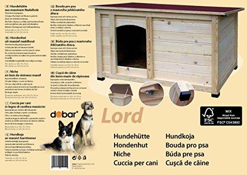 """dobar 55014FSC Hundehütte """"Lord"""", XL Outdoor Hundehaus für große Hunde, Platz für Hundebett, wetterfest imprägnierte Hundehöhle, Dach mit Aufstellvorrichtung, 120x75x70 cm, 35kg Holzhütte - 3"""