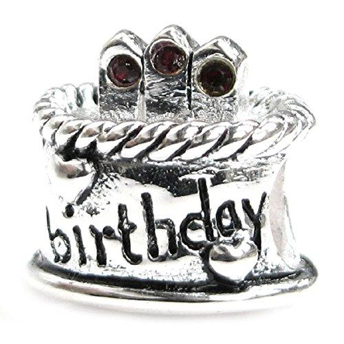 Torta di compleanno in argento Sterling con catenina rosso Siam, pietra dei nati in gennaio e Charm europei - Cristallo Gennaio Charm