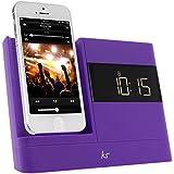 KitSound XDOCK 2 Radio Réveil avec Station d'Accueil et Connecteur Lightning pour iPhone 5/iPhone SE/iPod Nano 7/iPod Touch 5 - Livré avec Prise EU – Violet